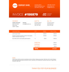 Orange invoice template vector