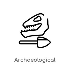 Outline archaeological icon isolated black simple vector