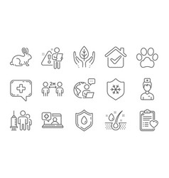 patient history dog paw and animal tested icons vector image