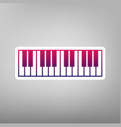 Piano keyboard sign purple gradient icon vector