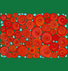 red doodle cartoon simple roses floral art vector image