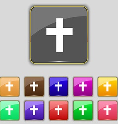 Religious cross Christian icon sign Set with vector