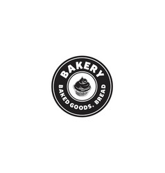 Rounded label cupcake bakery logo vector