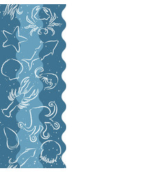 seafood seamless banner with contour animals vector image