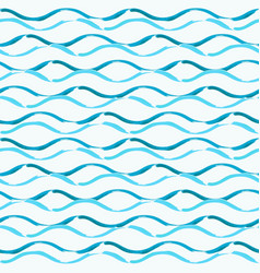 seamless pattern with hand drawn brush waves vector image
