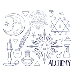 Set of trendy Alchemy symbols vector image
