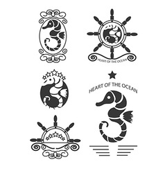 Set of vintage seahorse labels emblems and design vector