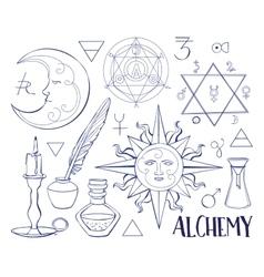 Set trendy alchemy symbols vector