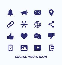 simple set social media icon in dark blue color vector image