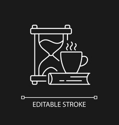 Slow living white linear icon for dark theme vector