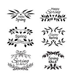 spring lettering set with decorative elements vector image