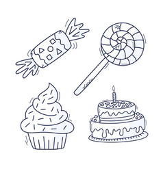 sweet cupcake cake candy and lollipop set hand vector image