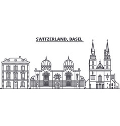 Switzerland basel line skyline vector