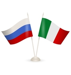 Table stand with flags of Russia and Italy vector image