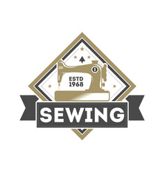 Tailor sewing studio label with sewing machine vector