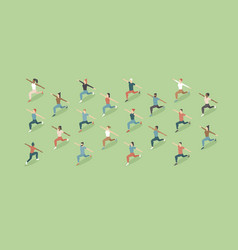 training outdoors people doing group exercise vector image