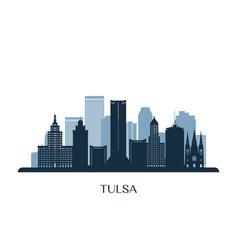 tulsa skyline monochrome silhouette vector image