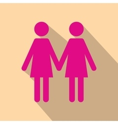 Two women flat icon with shadow vector