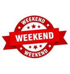 weekend ribbon weekend round red sign weekend vector image