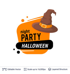 witch hat and halloween text vector image