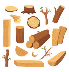 Wood log and trunk cartoon wooden lumber plank vector