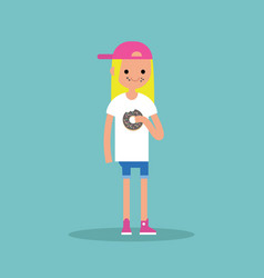 Young blond girl chewing a chocolate donut flat vector