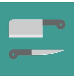 Big steel kitchen knife set Flat design style vector image