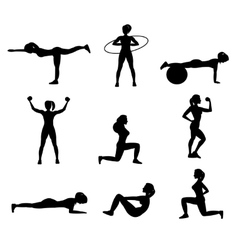 Fitness For Woman Flat Icons Set vector image vector image