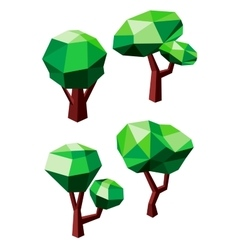 Geometric polygonal green trees icons vector image vector image