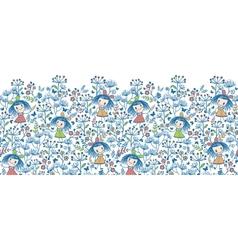 Girls in the flower garden horizontal seamless vector image