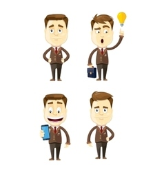 set of businessman in different poses manager vector image vector image