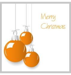 shiny orange color christmas decoration baubles vector image