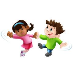 two cartoon dancers dancing vector image