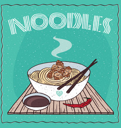 asian noodles ramen or udon with chicken vector image