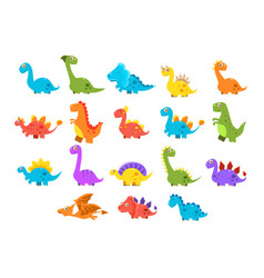 Dinosaurs set variety species of brightly colored vector