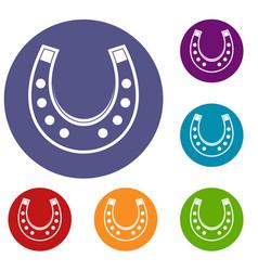 horseshoe icons set vector image vector image