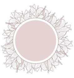Round beige label decorated with magnolia flowers vector