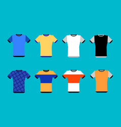 types of jerseys set simple icons of main jerseys vector image