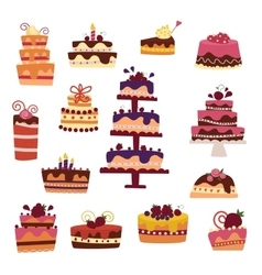 cake collection isolated on white vector image