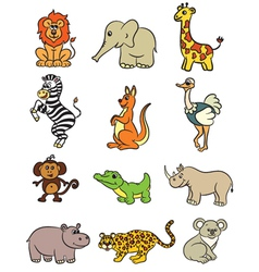 Cute zoo animals collection Royalty Free Vector Image