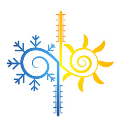 sun and snowflake abstract symbol of temperature vector image