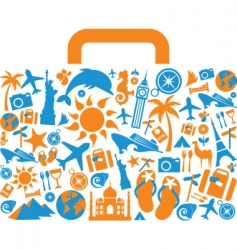travel and vacation icons suitcase vector image vector image