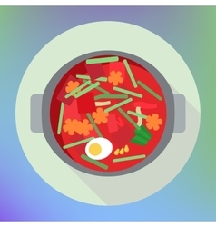 vegetable beet soup borsch flat vector image