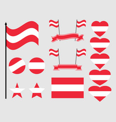 austria flag set collection of symbols flag in vector image