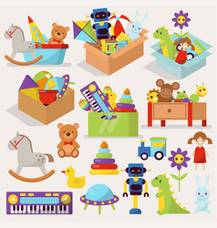 boxes of kid toys stuffed vector image