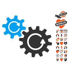 cogs rotation icon with love bonus vector image