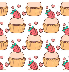 cute cupcakes and muffins seamless pattern vector image