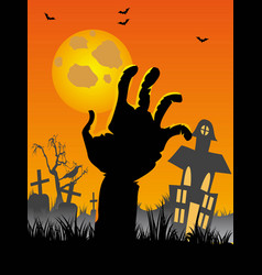 halloween cemetery background with hand bats vector image