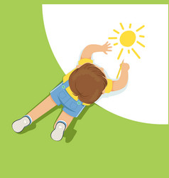 little boy lying on floor and drawing sun using vector image vector image
