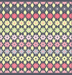 pattern with flowers on gray strips circles vector image vector image